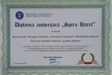 """2015 - 160 de ani de la înființarea Seminarului Teologic Ortodox """"Veniamin Costachi"""""""