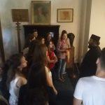 În vizită la Casa M. Sadoveanu - pr. arhim. prof. Mihail Daniliuc vorbind despre ilustrul scriitor
