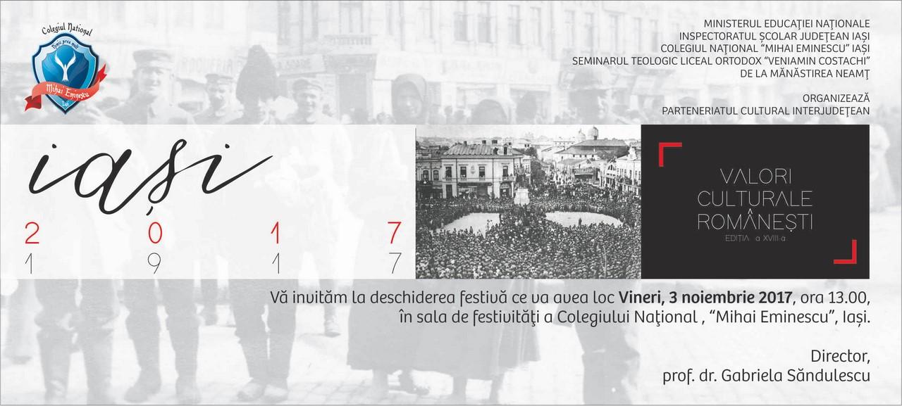 """""""Valori culturale românești"""" – ediția a XVIII-a – Iași 3-5 noiembrie 2017"""