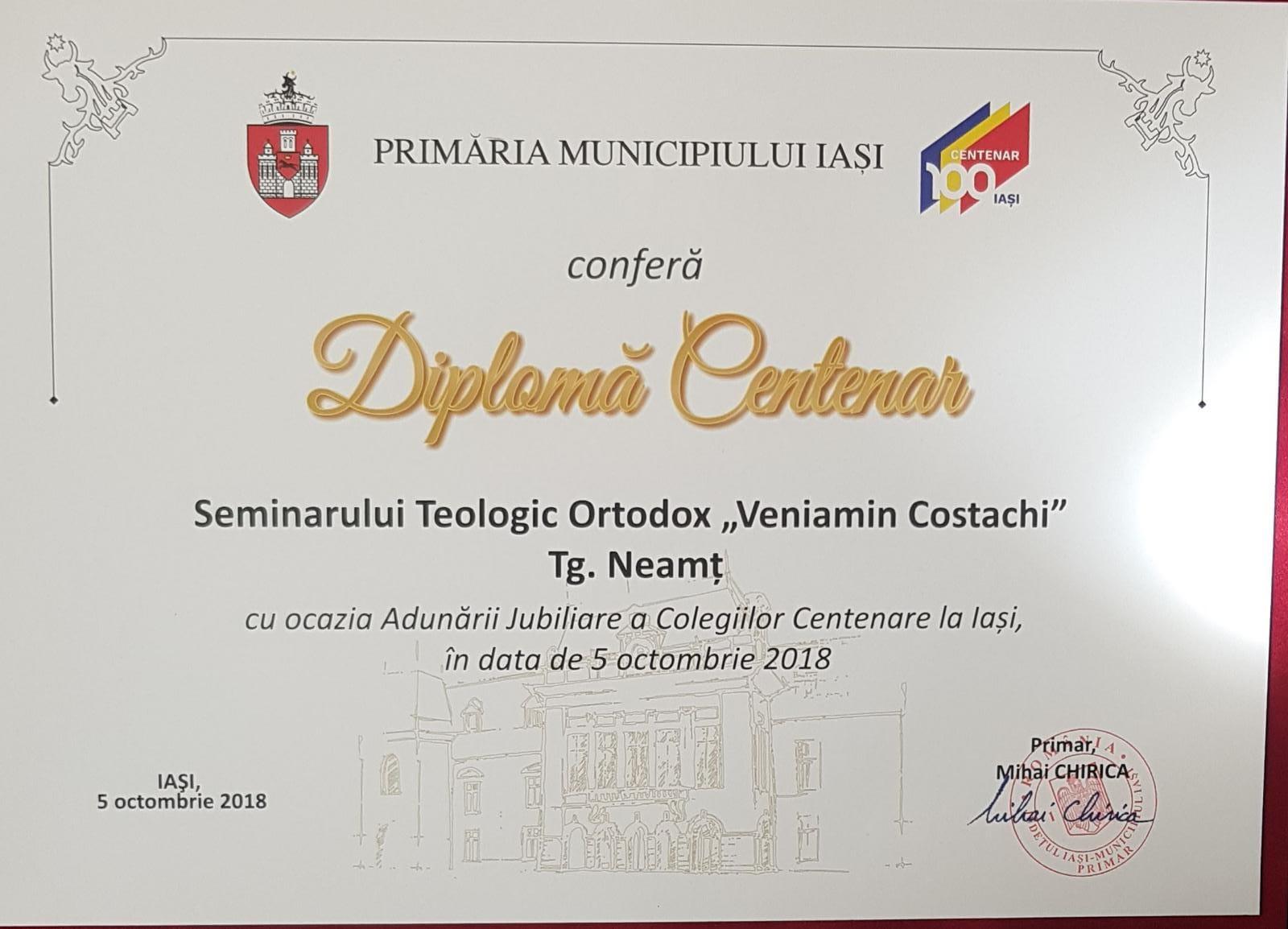Seminarul de la Mănăstirea Neamț în rândul școlilor centenare